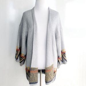 Janice Apparel Grey Plush Aztec Faux Fur Cardigan